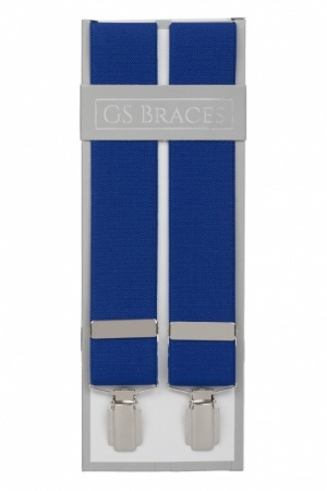 Plain Royal Blue Trouser Braces Suspenders